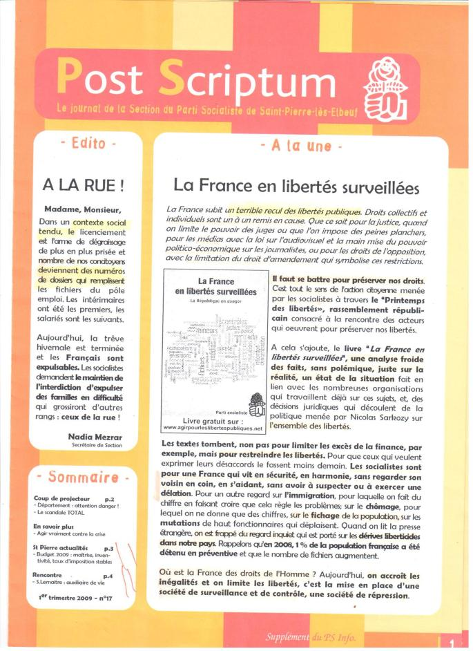 Parti Socialiste St-Pierre-Lès-Elbeuf 2009