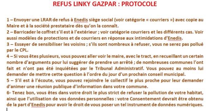 REFUS LINKY GAZPAR PROTOCOLE